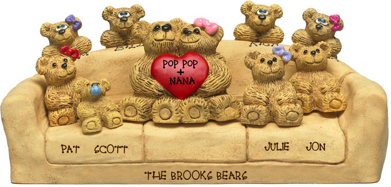 "Buy 50th wedding anniversary gifts - ""50th Wedding Anniversary Gifts, 6-to-11-Bear Bunch Design Free Names\"""