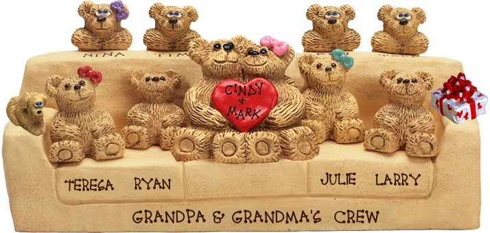 "Buy 50th wedding anniversary gifts - ""50th Wedding Anniversary Gift, 10-to-15-Bear Bunch Design Free Names\"""