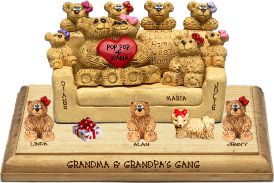 "Buy 50th wedding anniversary gifts - ""50th Wedding Anniversary Gifts, 8-to-14-Bear Bunch Design Free Names\"""