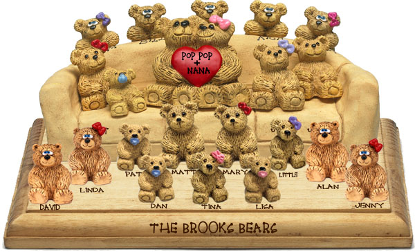 "Buy 50th wedding anniversary gifts - ""50th Wedding Anniversary Gift, 18-to-22-Bear Bunch Design Free Names\"""
