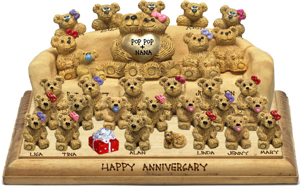 "Buy 50th wedding anniversary gifts - ""50th Wedding Anniversary Gift, 25-to-32-Bear Bunch Design Free Names\"""