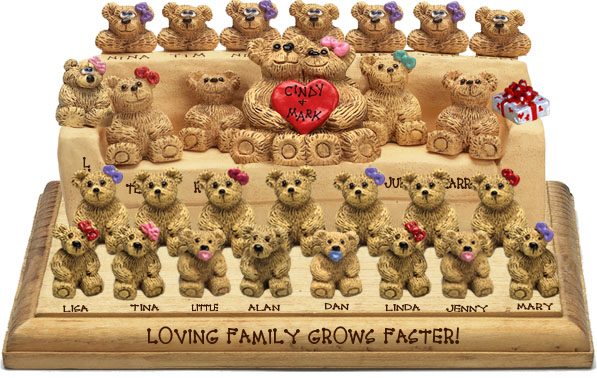 "Buy 50th wedding anniversary gifts - ""50th Wedding Anniversary Gift, 25-to-30-Bear Bunch Design Free Names\"""