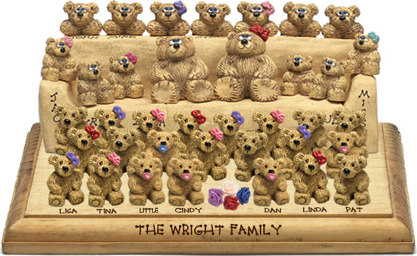 "Buy 50th wedding anniversary gifts - ""50th Wedding Anniversary Gift, 33-to-38-Bear Bunch Design Free Names\"""
