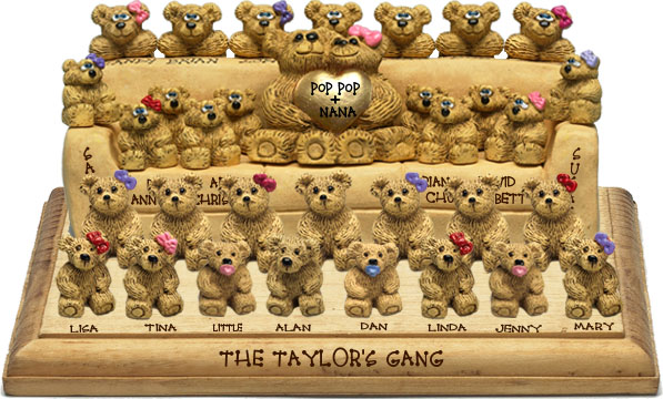 "Buy 50th wedding anniversary gifts - ""50th Wedding Anniversary Gift, 28-to-34-Bear Bunch Design Free Names\"""