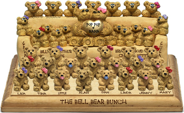 "Buy 50th wedding anniversary gifts - ""50th Wedding Anniversary Gift, 33-to-40-Bear Bunch Design Free Names\"""