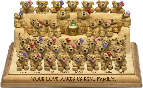 "Buy 50th wedding anniversary gifts - ""50th Wedding Anniversary Gift, 37-to-42-Bear Bunch Design Free Names\"""