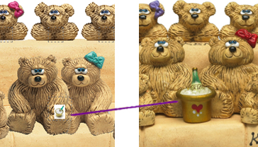 Preview vs Final Product: Bear Bunch on Sofa