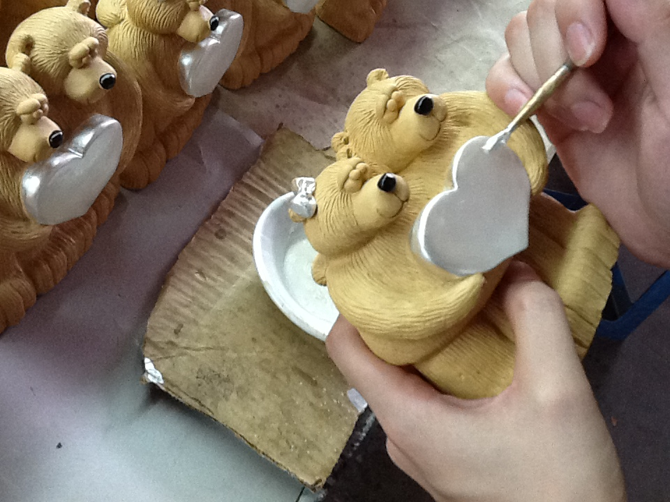 Bear Heart Being Painted into Shiny White