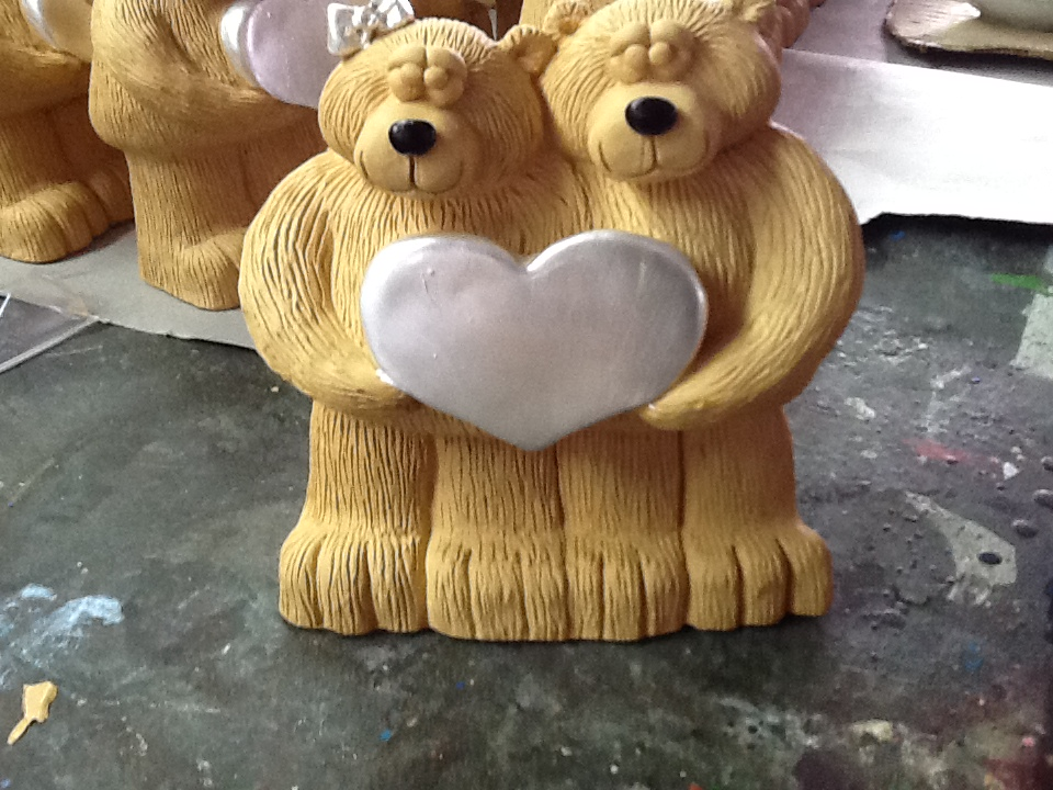 Bear Hand Painted in Shiny White