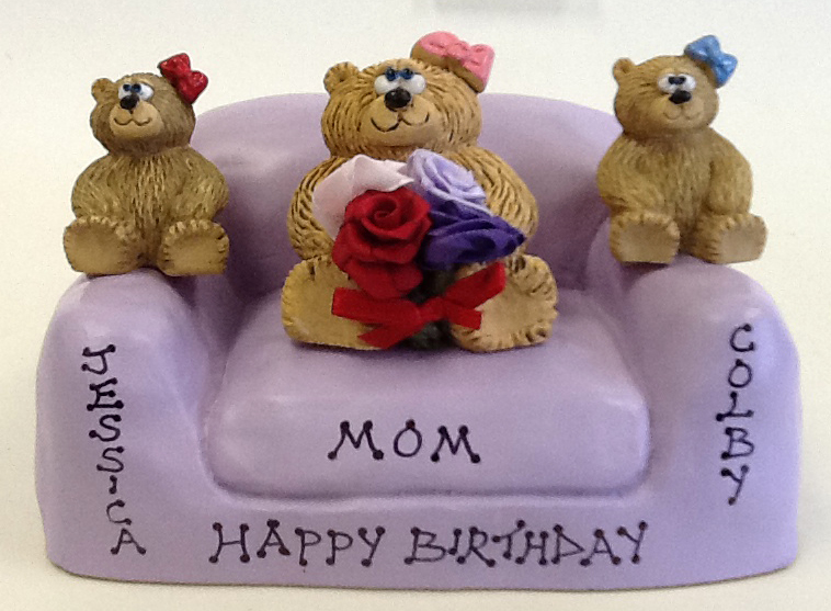 Personalized Teddy Bears on Customized Loveseat